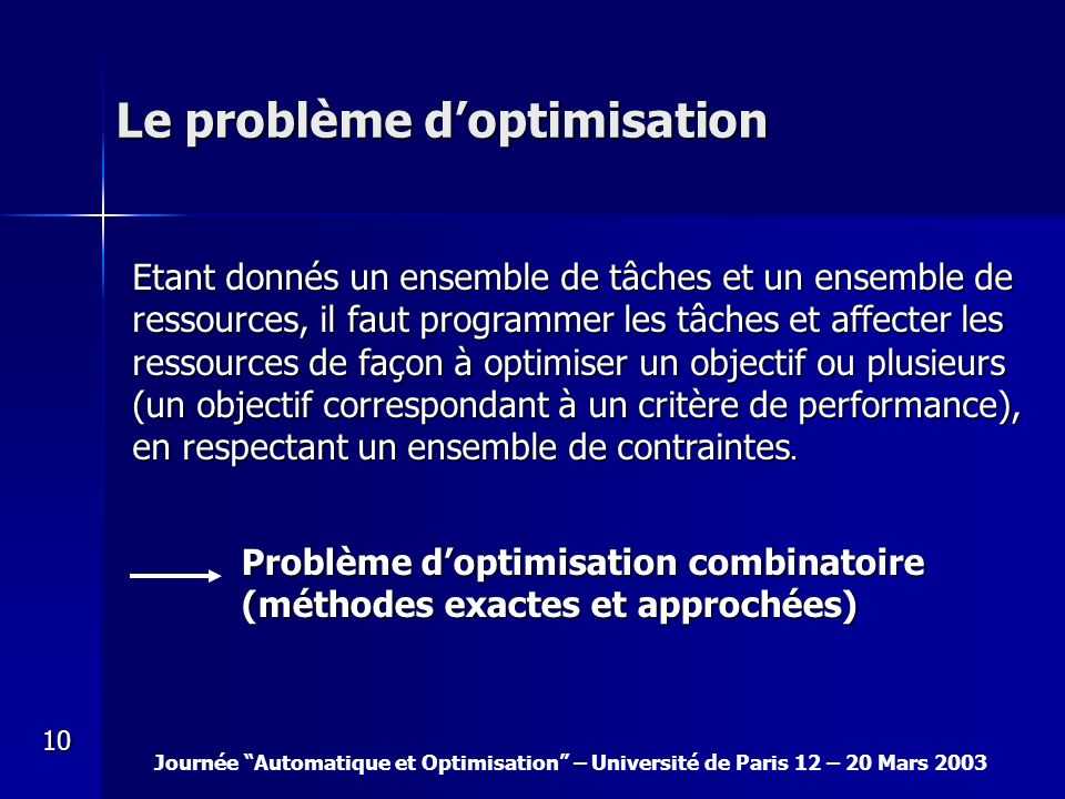 Le problème d'optimisation