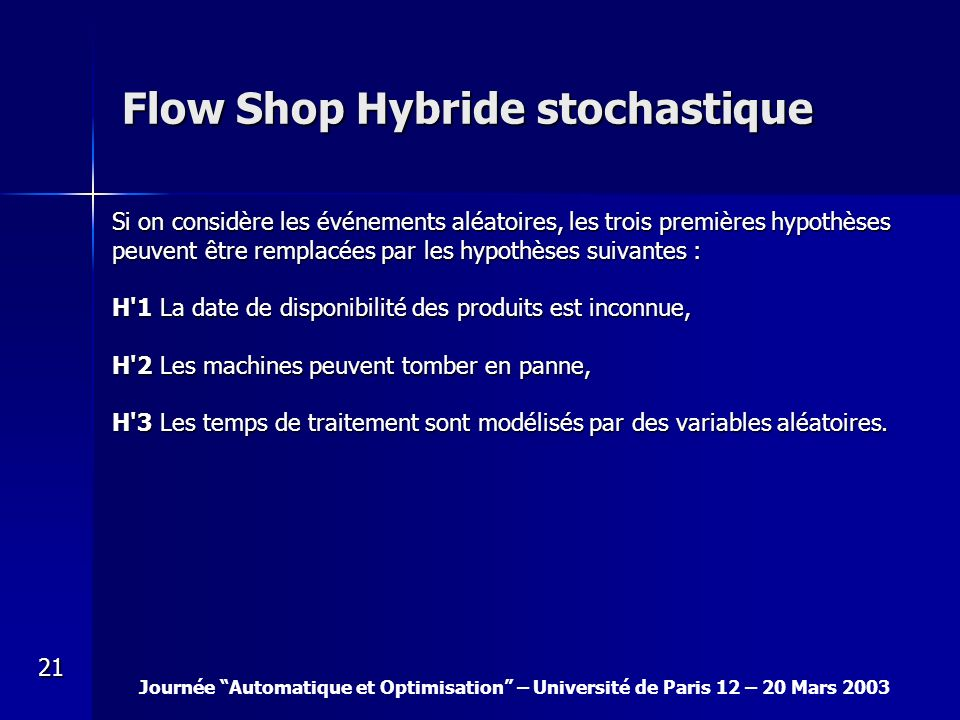 Flow Shop Hybride stochastique