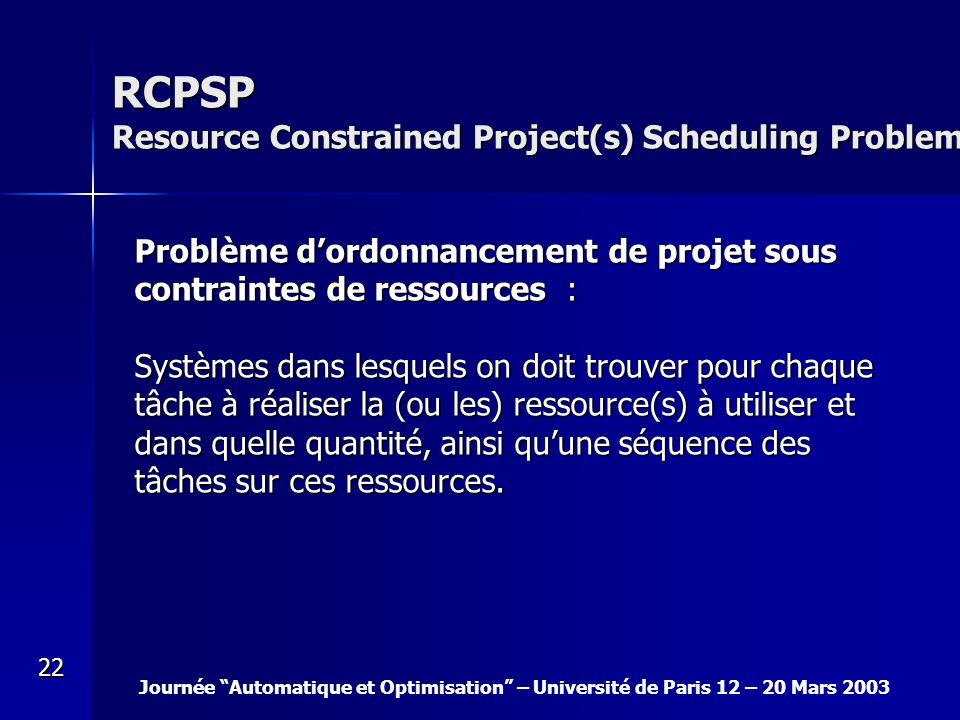 RCPSP Resource Constrained Project(s) Scheduling Problem