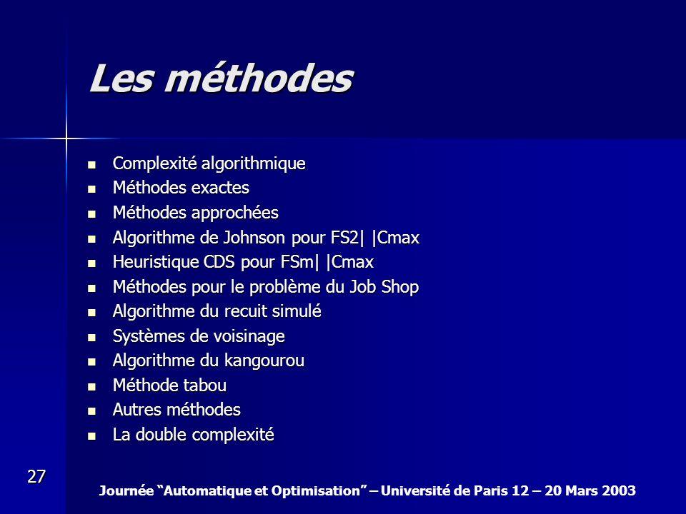 Les méthodes Complexité algorithmique Méthodes exactes