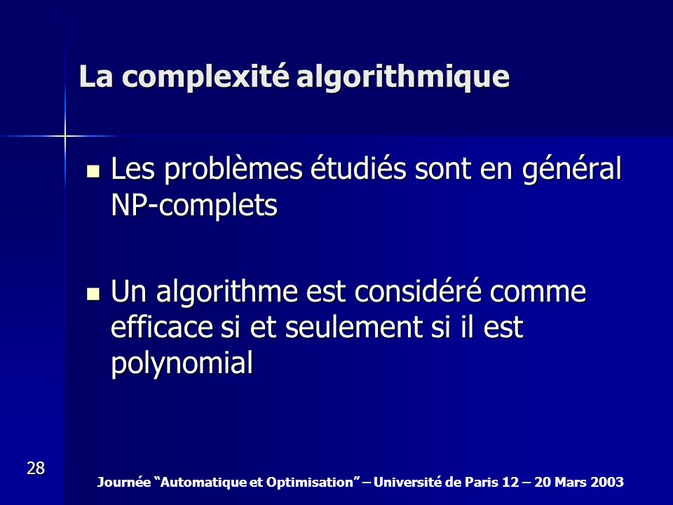 La complexité algorithmique