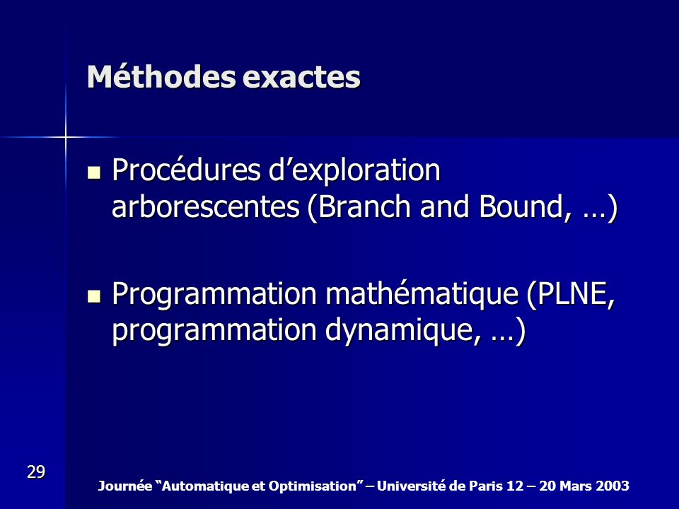 Méthodes exactes Procédures d'exploration arborescentes (Branch and Bound, …) Programmation mathématique (PLNE, programmation dynamique, …)