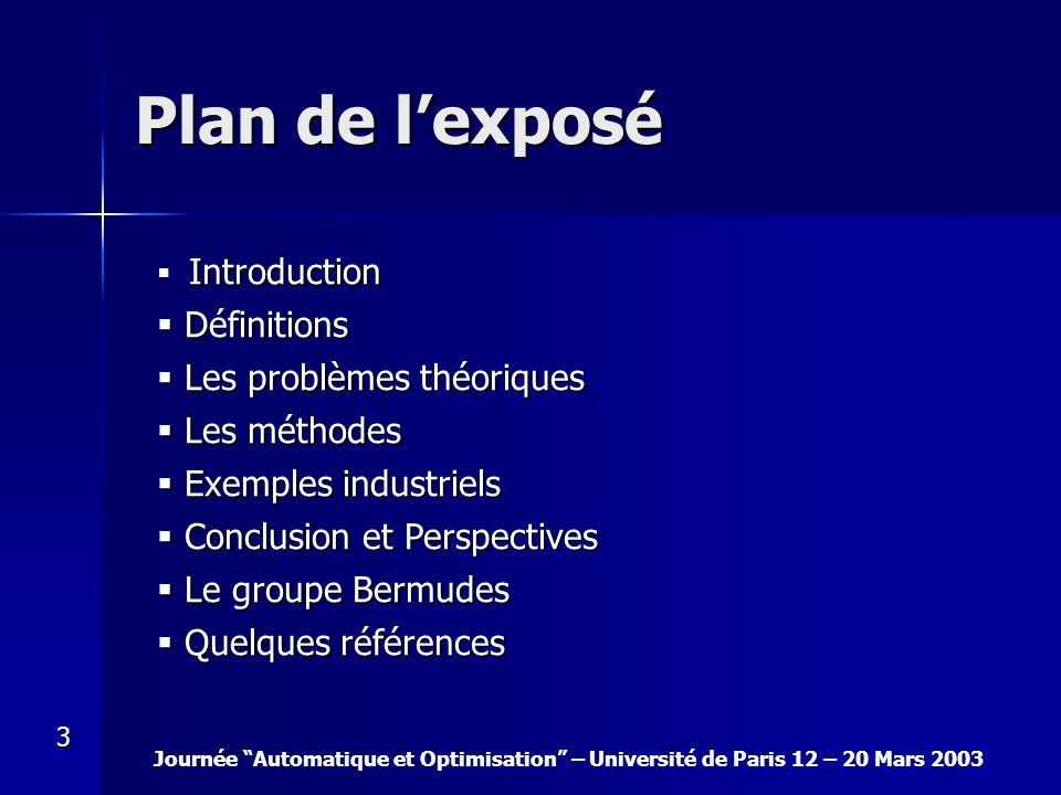 Plan de l'exposé Définitions Les problèmes théoriques Les méthodes