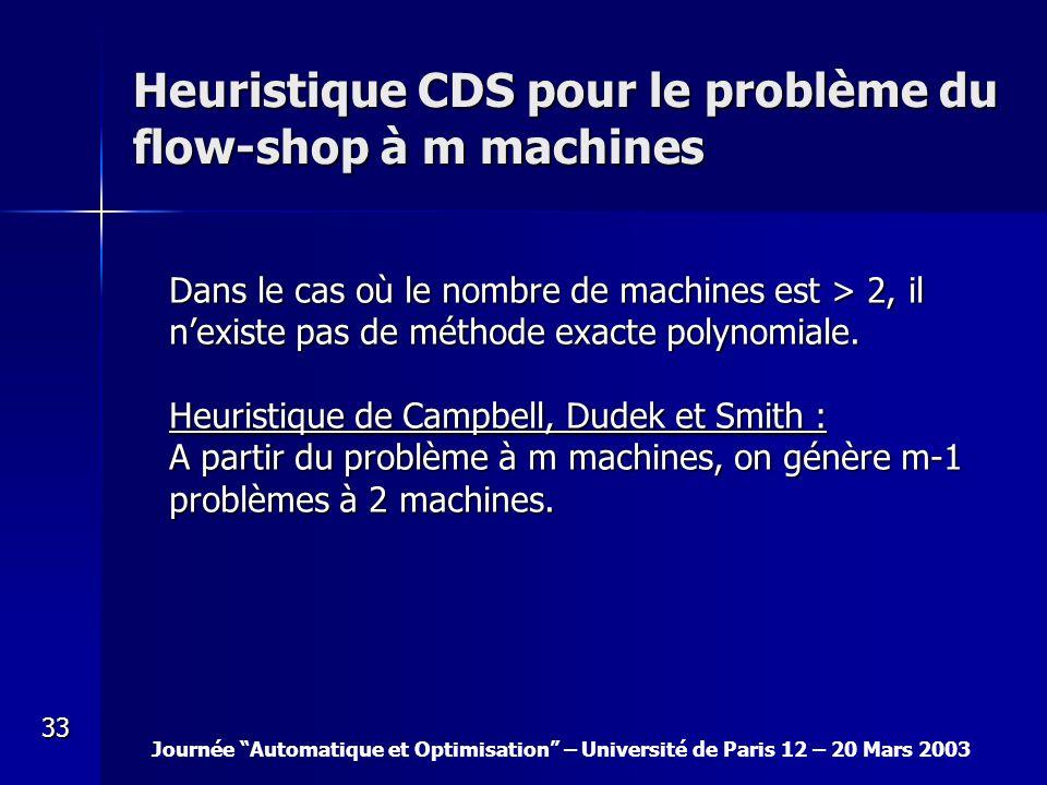 Heuristique CDS pour le problème du flow-shop à m machines