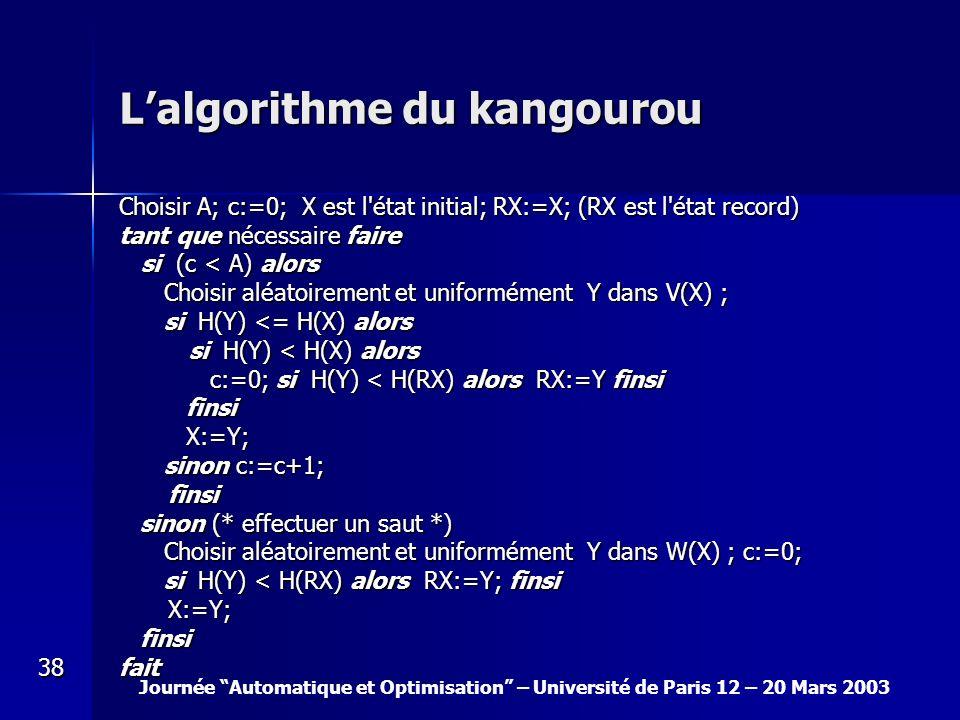 L'algorithme du kangourou