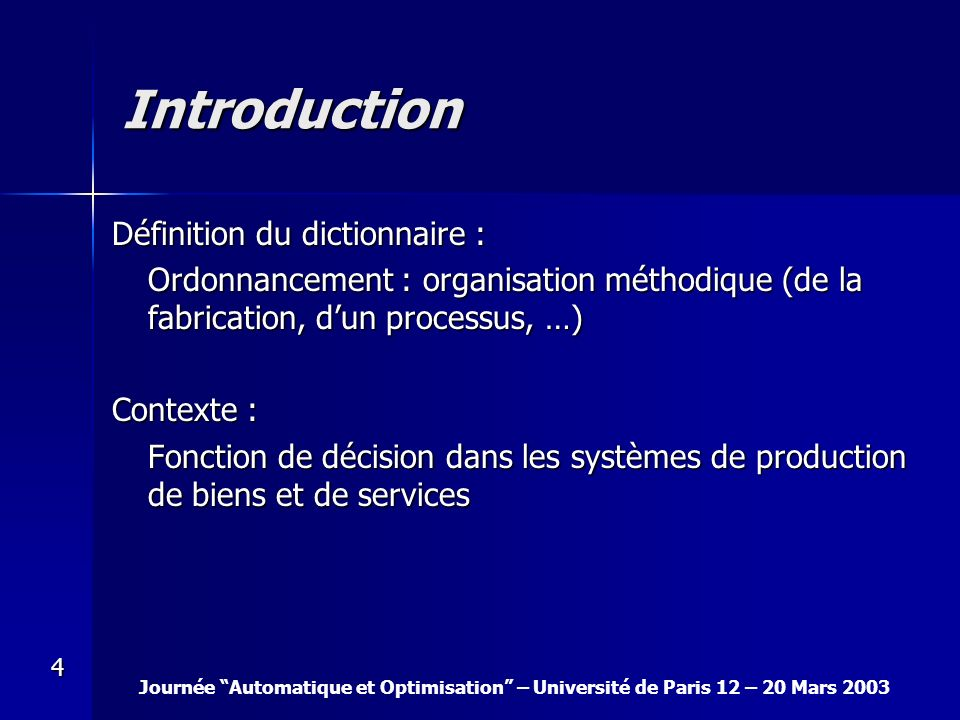 Introduction Définition du dictionnaire :