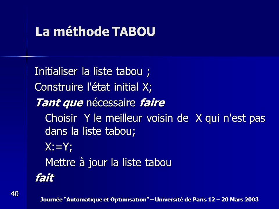 La méthode TABOU Initialiser la liste tabou ;