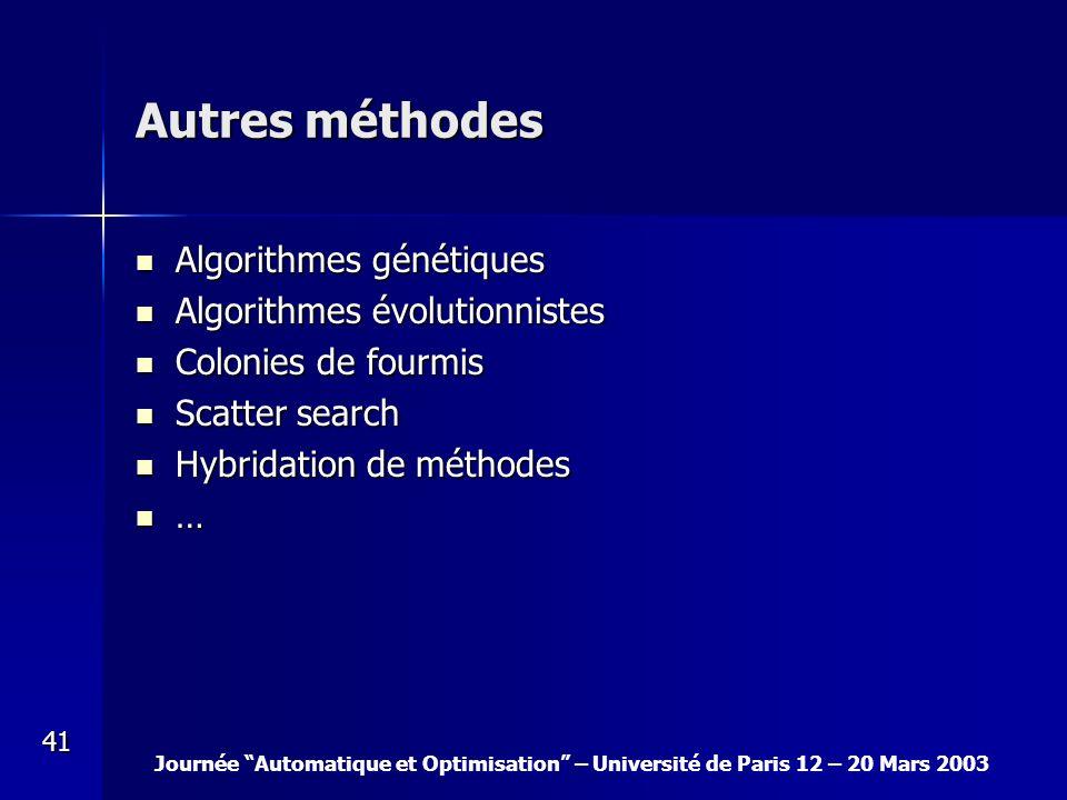 Autres méthodes Algorithmes génétiques Algorithmes évolutionnistes