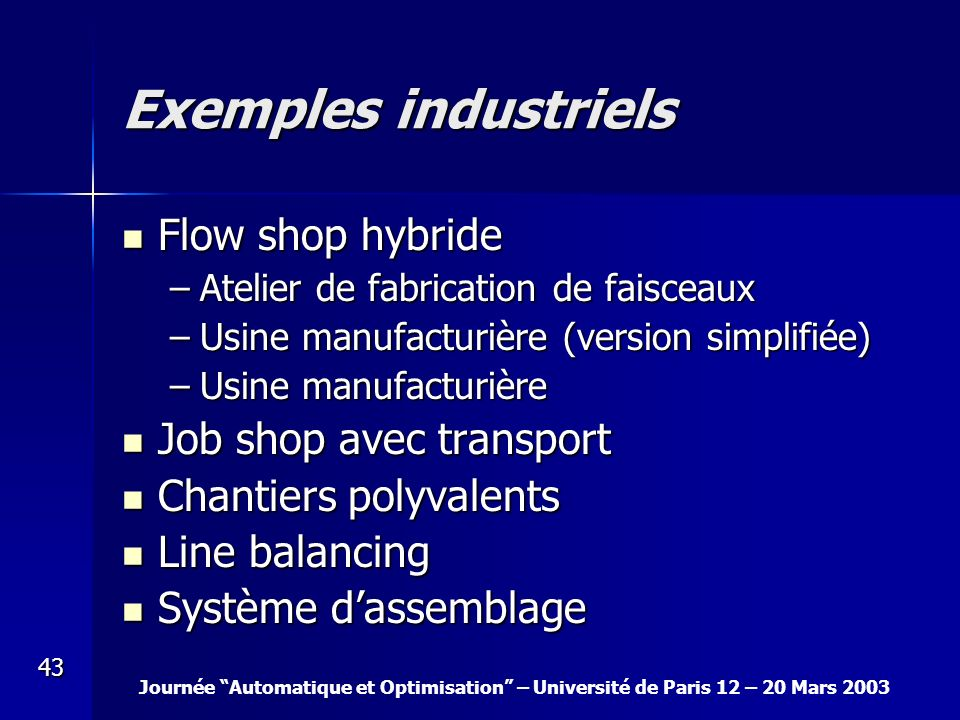 Exemples industriels Flow shop hybride Job shop avec transport
