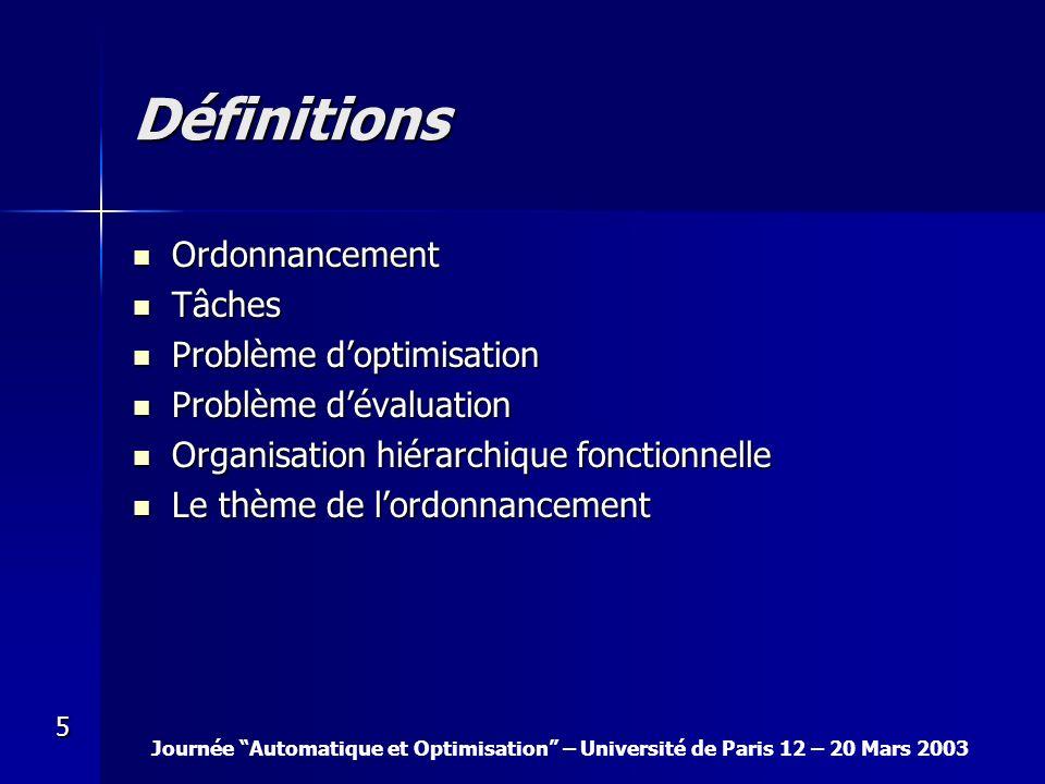 Définitions Ordonnancement Tâches Problème d'optimisation