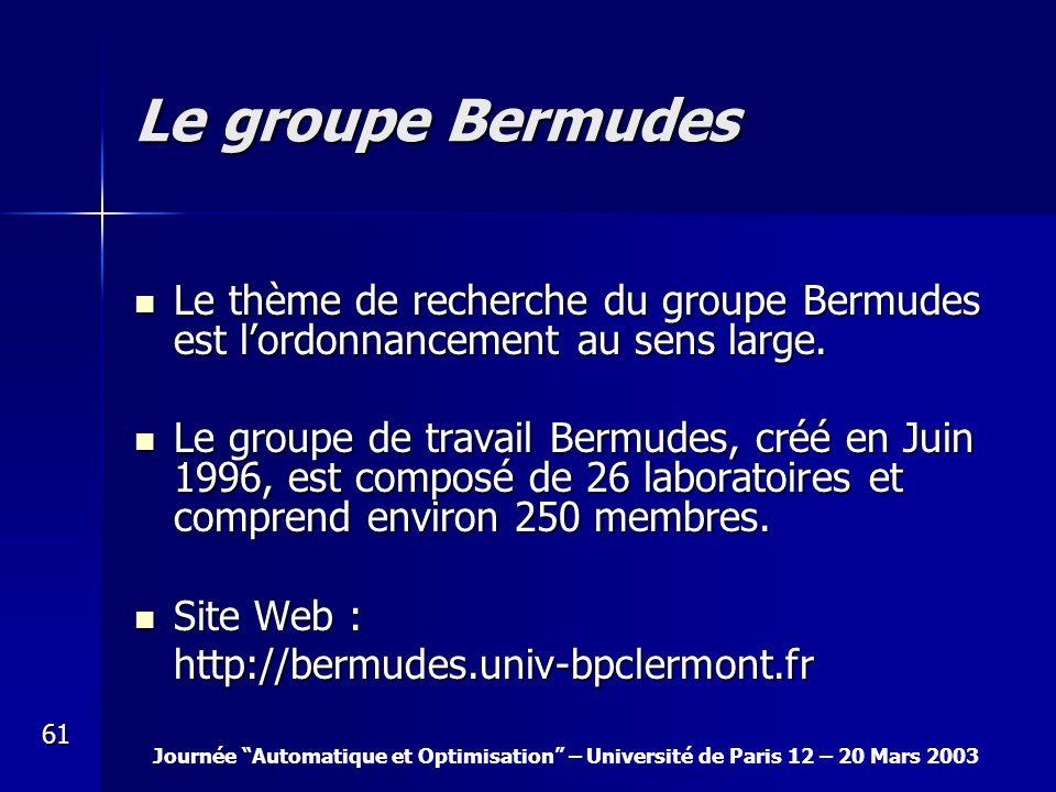 Le groupe Bermudes Le thème de recherche du groupe Bermudes est l'ordonnancement au sens large.