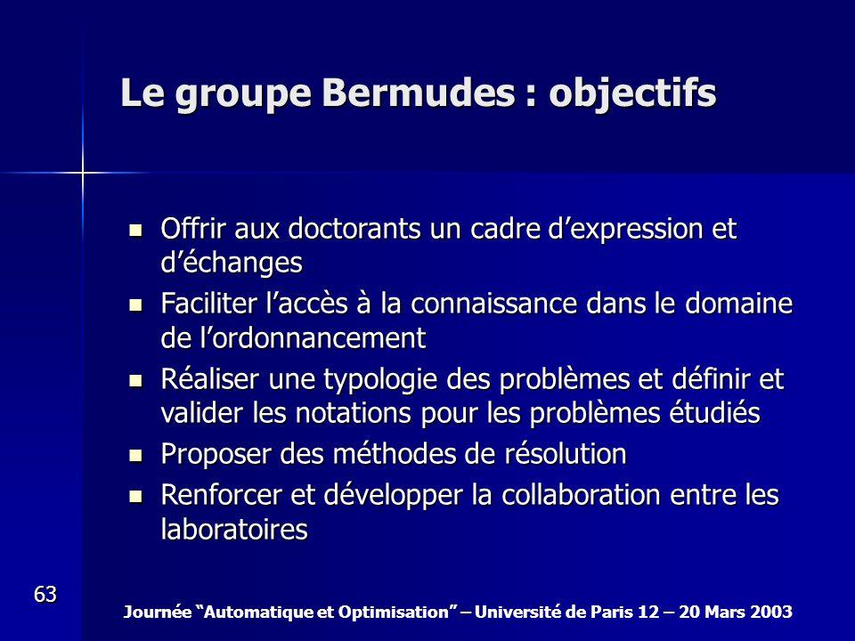 Le groupe Bermudes : objectifs