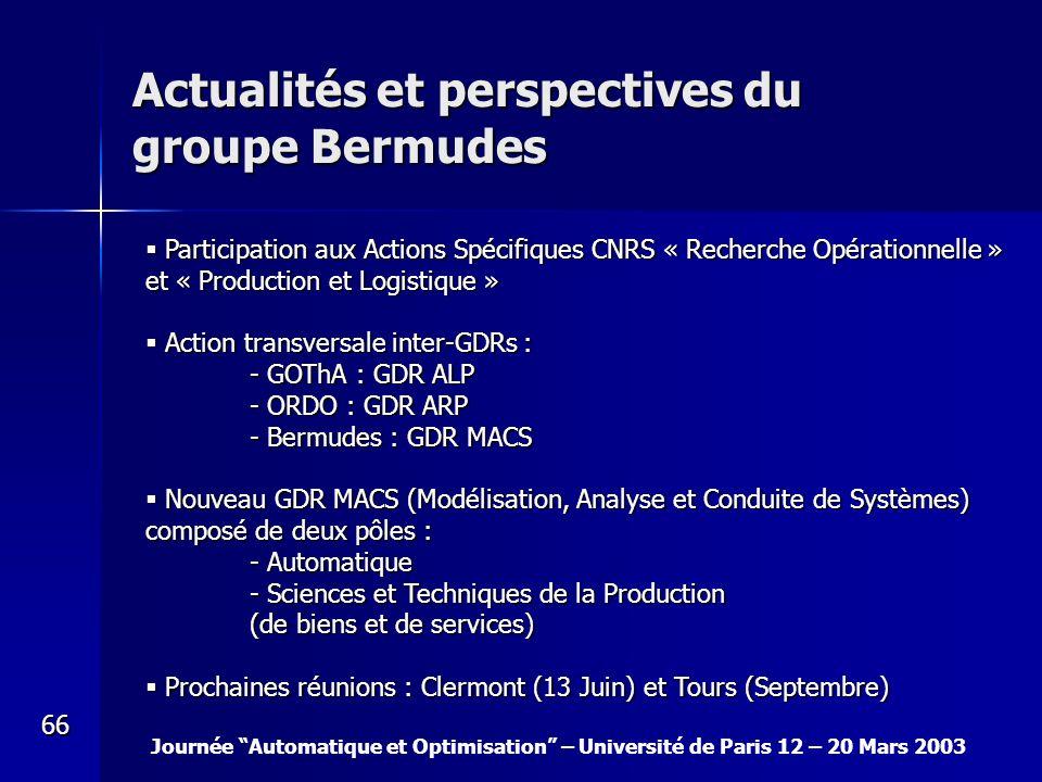 Actualités et perspectives du groupe Bermudes