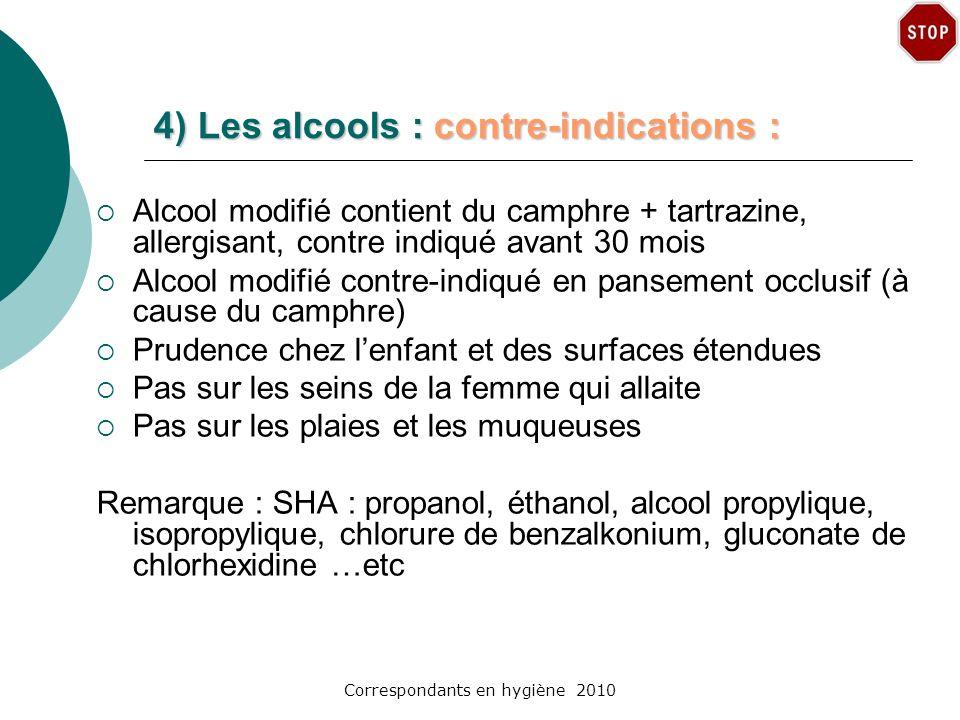 4) Les alcools : contre-indications :