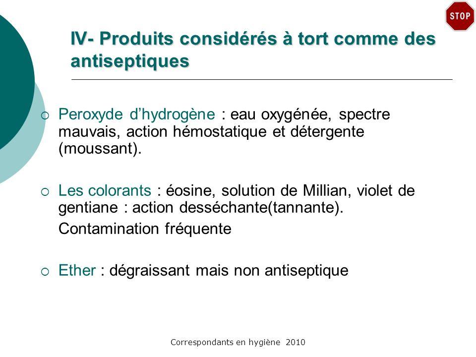 IV- Produits considérés à tort comme des antiseptiques