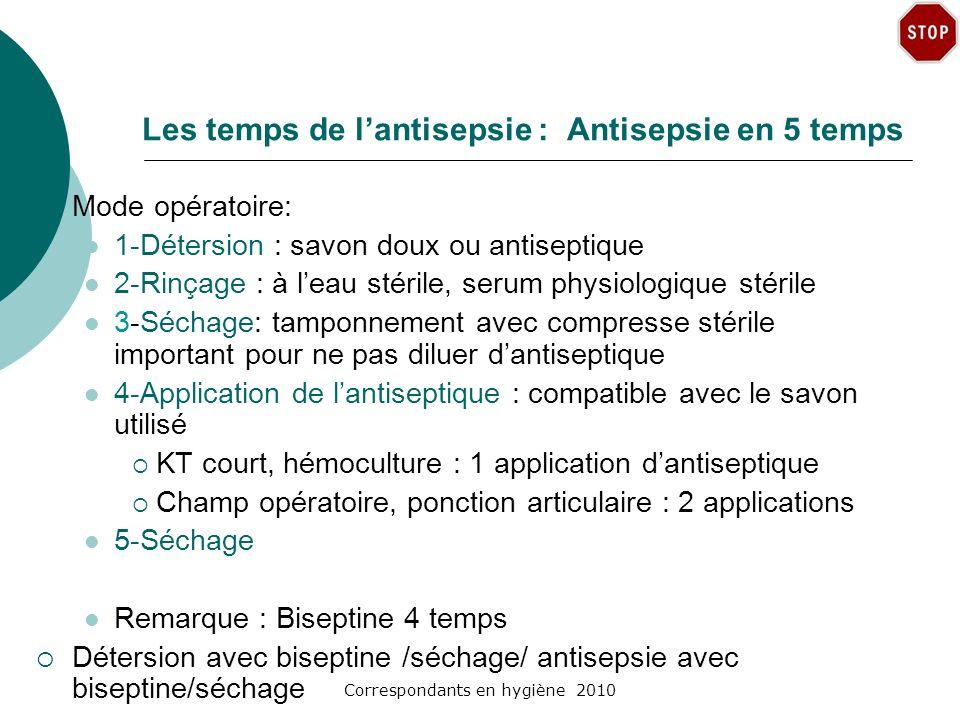 Les temps de l'antisepsie : Antisepsie en 5 temps