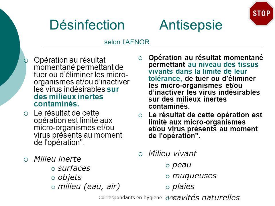 Désinfection Antisepsie selon l'AFNOR