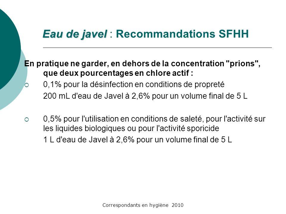 Eau de javel : Recommandations SFHH