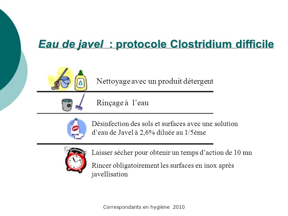 Eau de javel : protocole Clostridium difficile