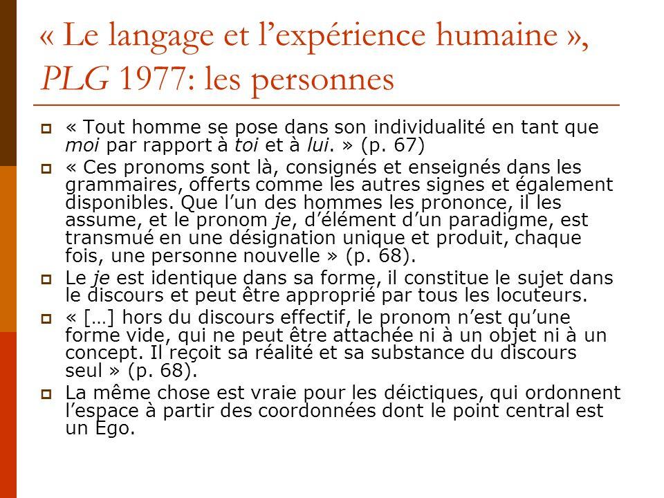 « Le langage et l'expérience humaine », PLG 1977: les personnes