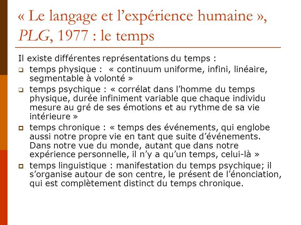 « Le langage et l'expérience humaine », PLG, 1977 : le temps