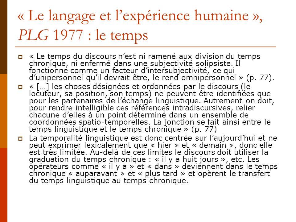 « Le langage et l'expérience humaine », PLG 1977 : le temps