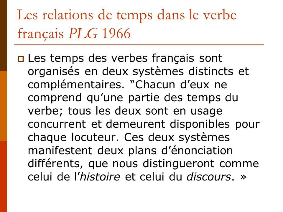 Les relations de temps dans le verbe français PLG 1966