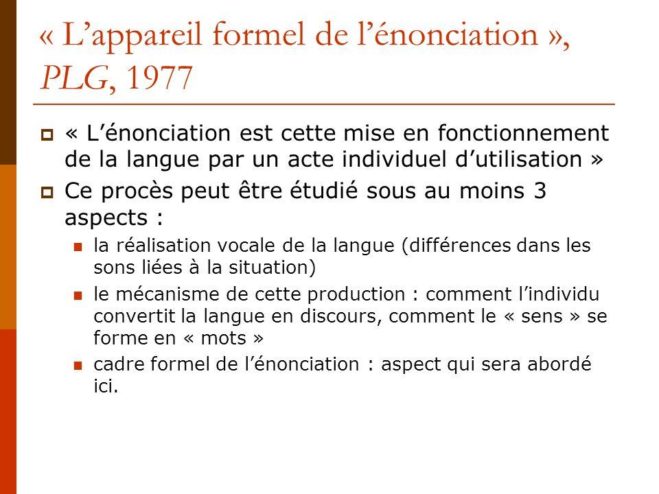 « L'appareil formel de l'énonciation », PLG, 1977
