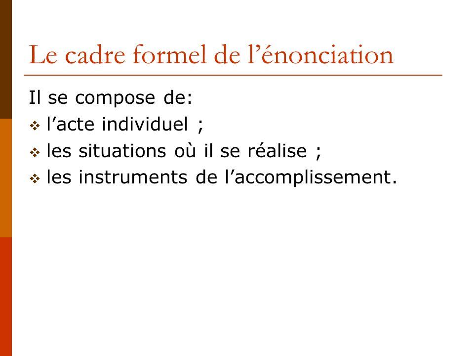 Le cadre formel de l'énonciation