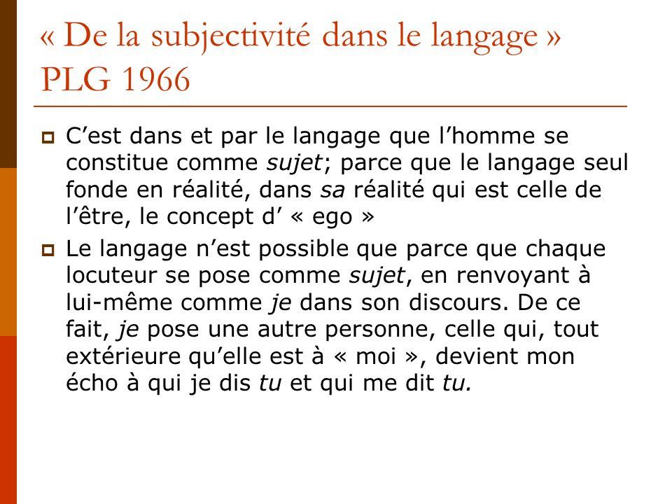 « De la subjectivité dans le langage » PLG 1966