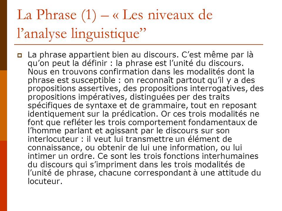 La Phrase (1) – « Les niveaux de l'analyse linguistique