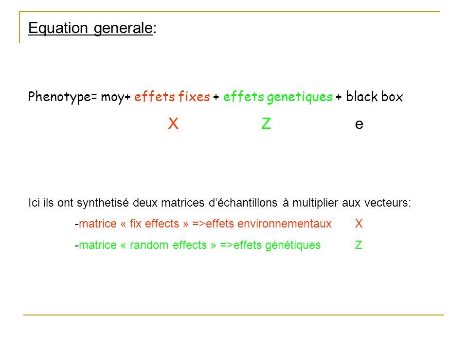 Equation generale: Phenotype= moy+ effets fixes + effets genetiques + black box. X Z e.
