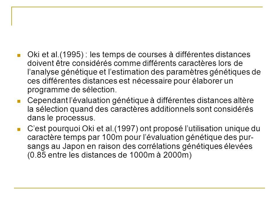 Oki et al.(1995) : les temps de courses à différentes distances doivent être considérés comme différents caractères lors de l'analyse génétique et l'estimation des paramètres génétiques de ces différentes distances est nécessaire pour élaborer un programme de sélection.