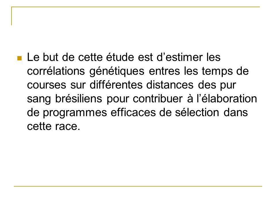 Le but de cette étude est d'estimer les corrélations génétiques entres les temps de courses sur différentes distances des pur sang brésiliens pour contribuer à l'élaboration de programmes efficaces de sélection dans cette race.