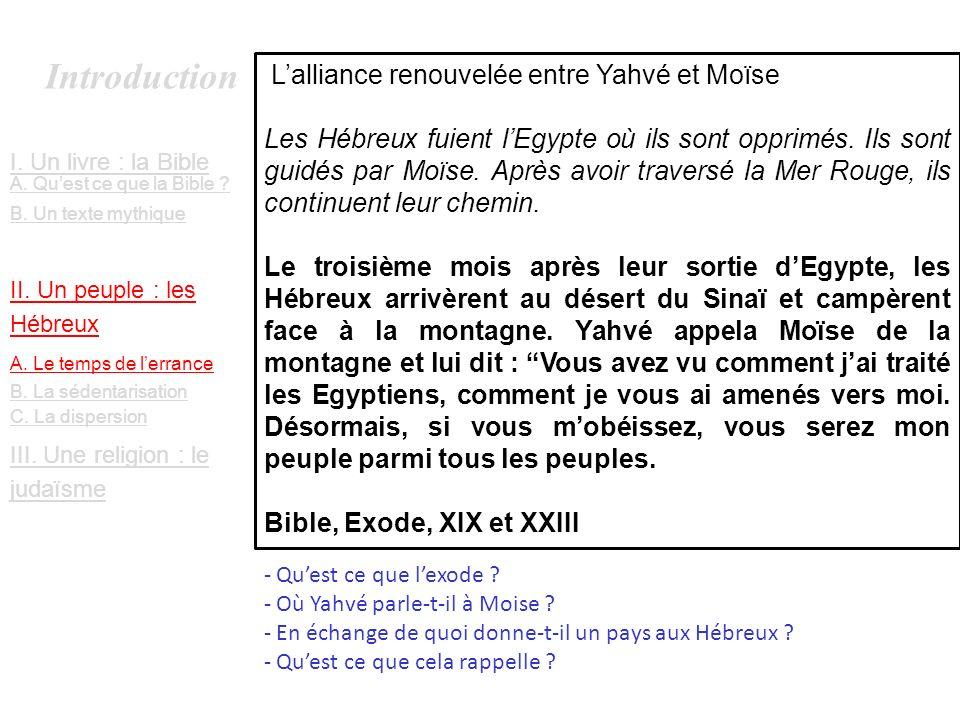 Introduction L'alliance renouvelée entre Yahvé et Moïse