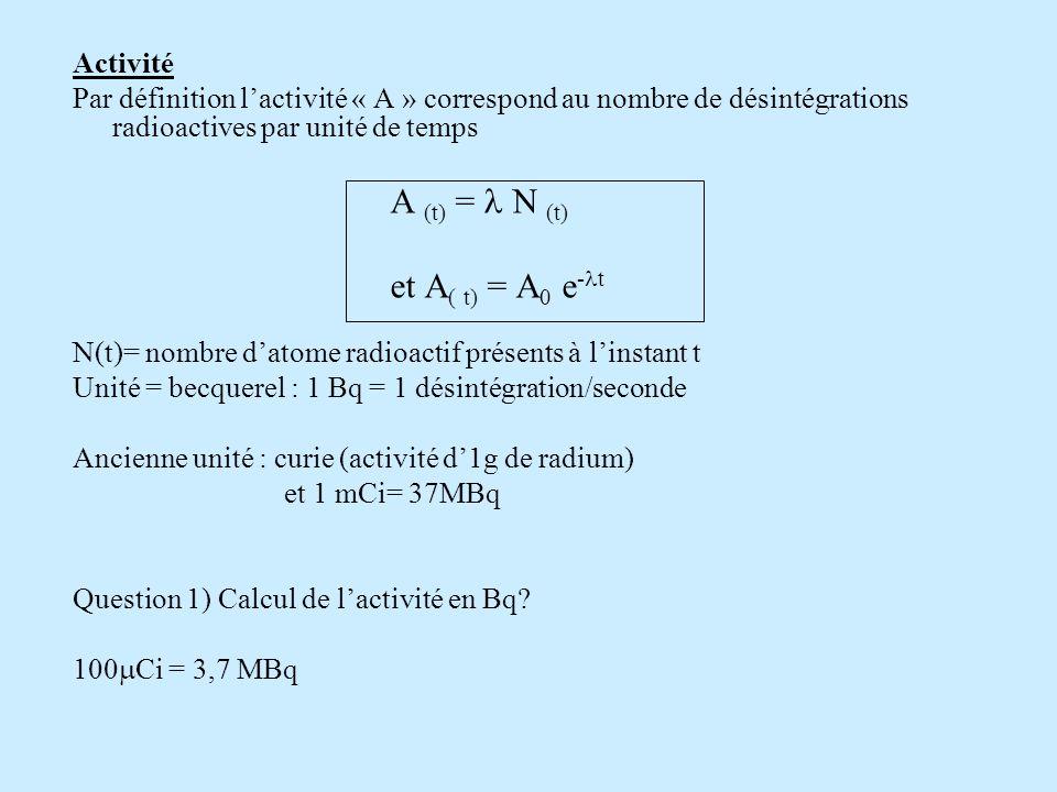 et A( t) = A0 e-lt Activité