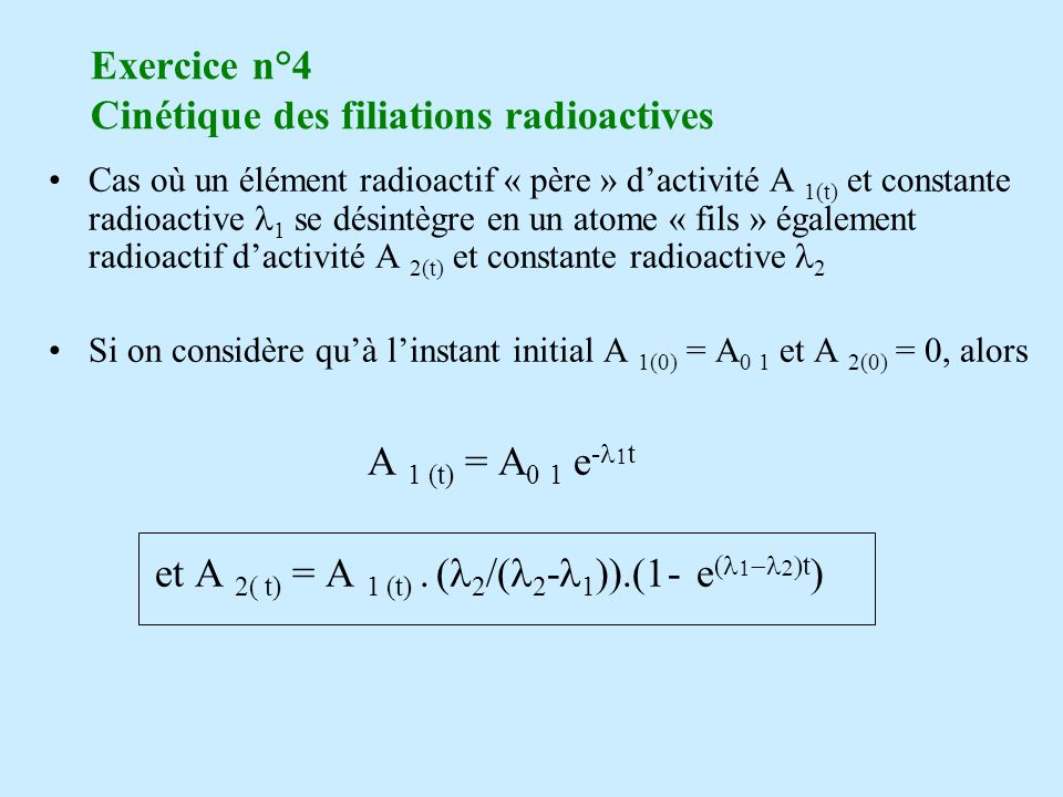 Exercice n°4 Cinétique des filiations radioactives