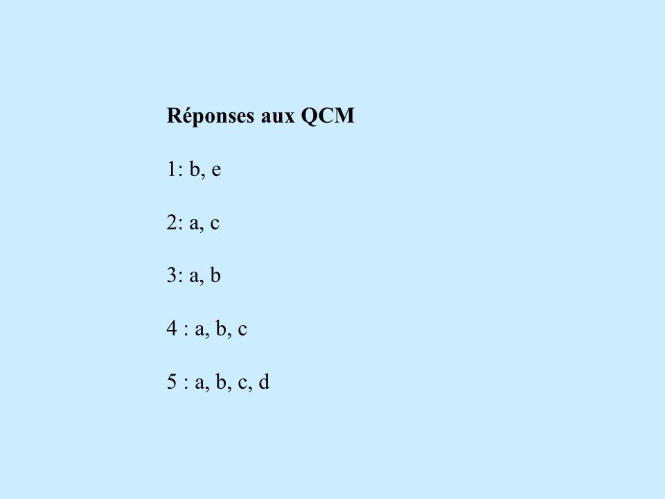 Réponses aux QCM 1: b, e 2: a, c 3: a, b 4 : a, b, c 5 : a, b, c, d