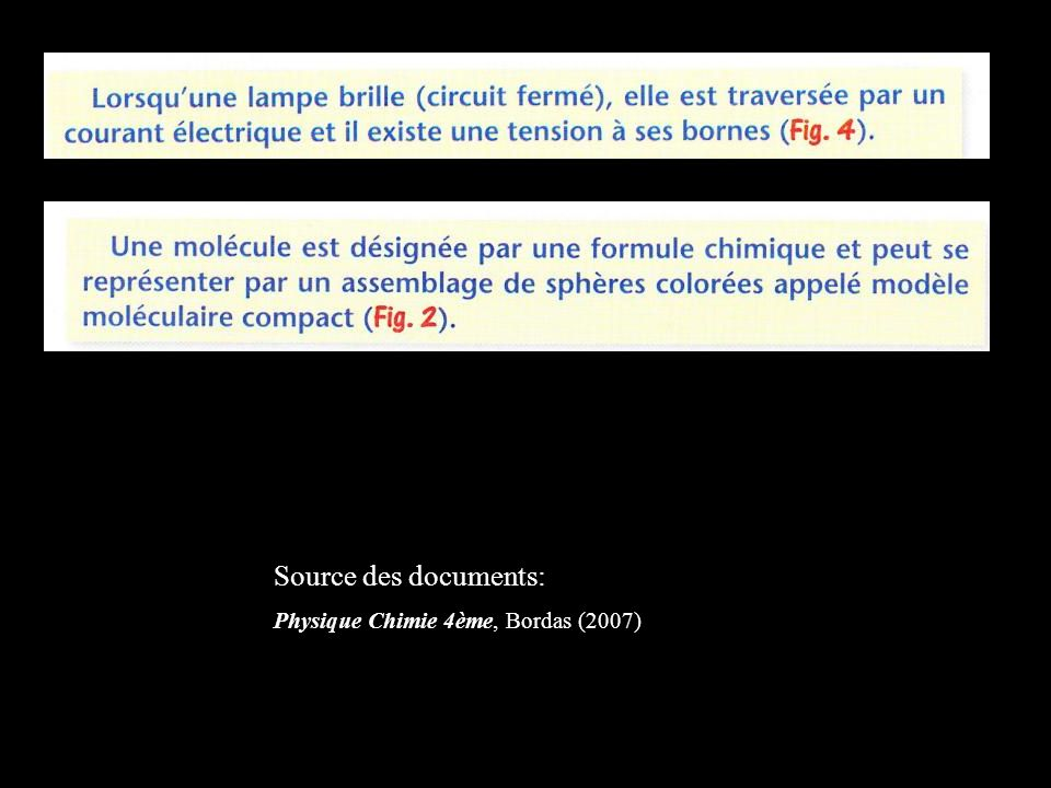 Source des documents: Physique Chimie 4ème, Bordas (2007)