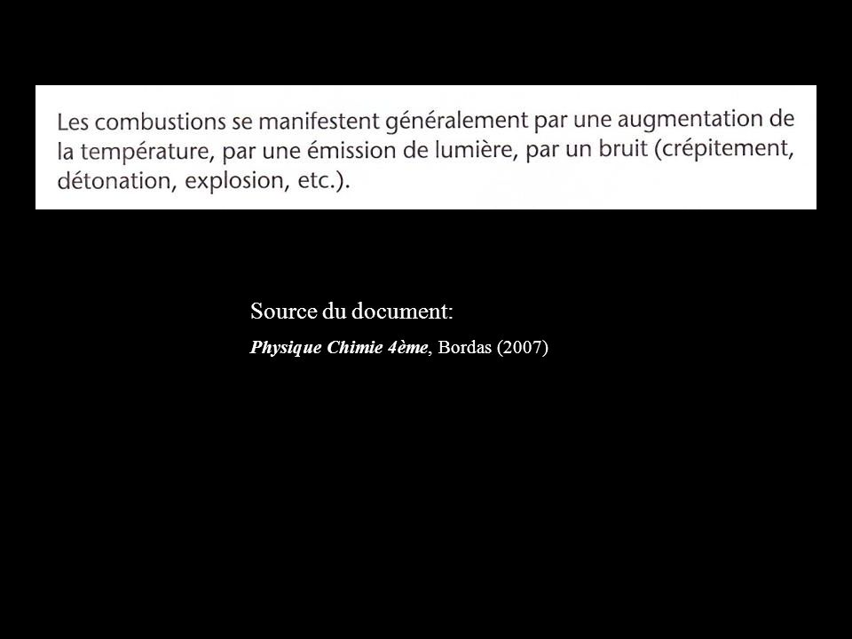 Source du document: Physique Chimie 4ème, Bordas (2007)