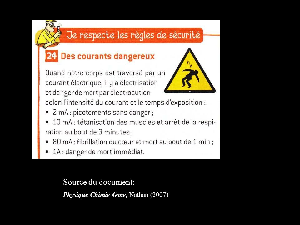 Source du document: Physique Chimie 4ème, Nathan (2007)