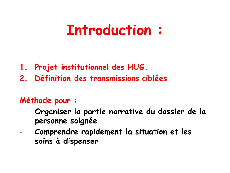 Introduction : Projet institutionnel des HUG.