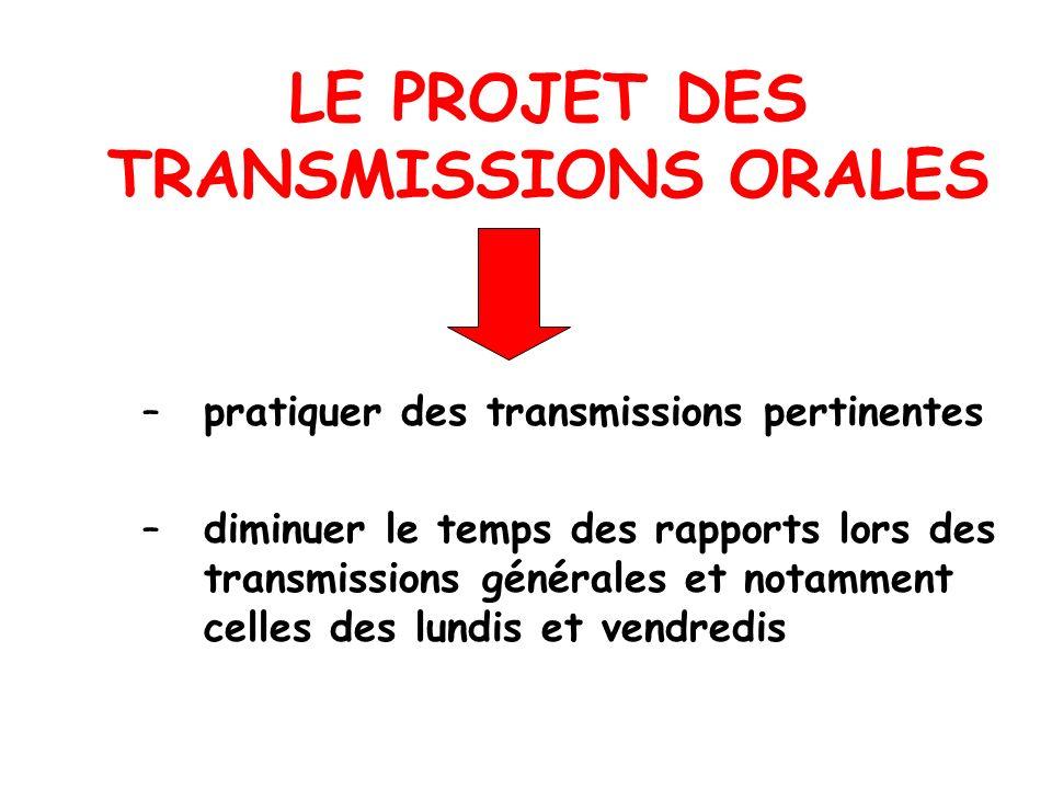 LE PROJET DES TRANSMISSIONS ORALES