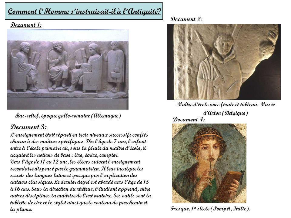 Comment l'Homme s'instruisait-il à l'Antiquité