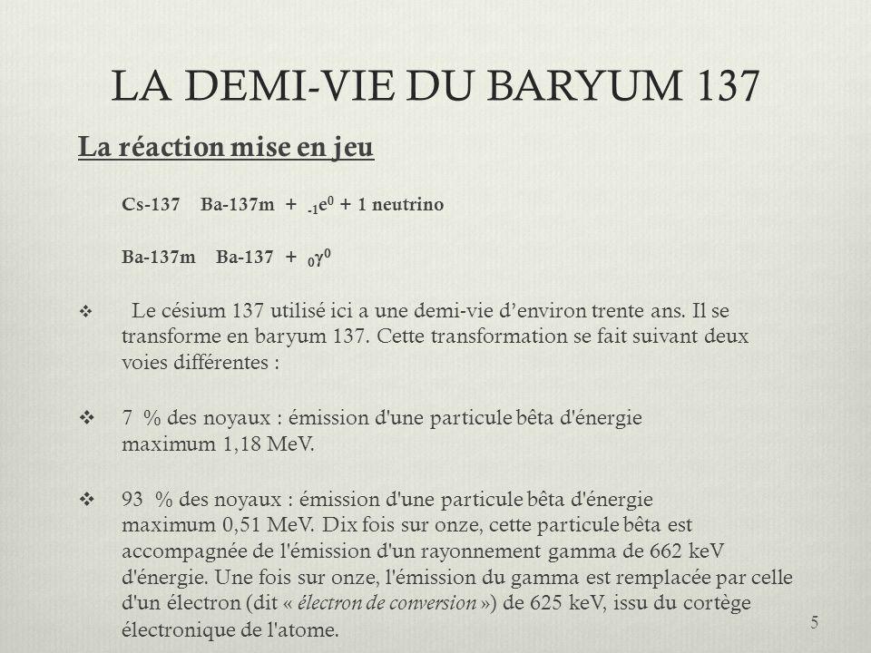LA DEMI-VIE DU BARYUM 137 La réaction mise en jeu