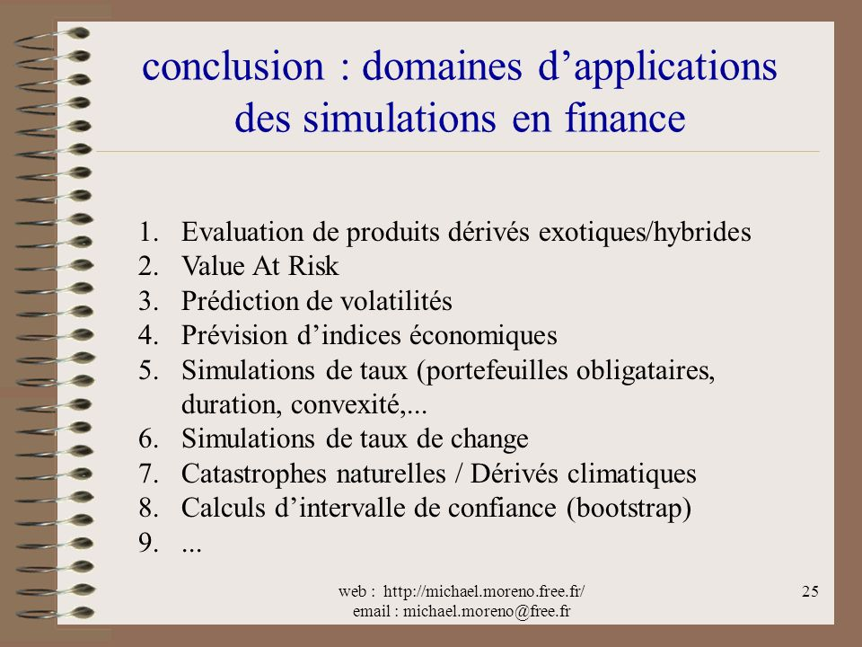 conclusion : domaines d'applications des simulations en finance