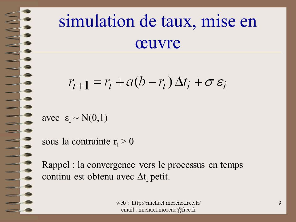 simulation de taux, mise en œuvre