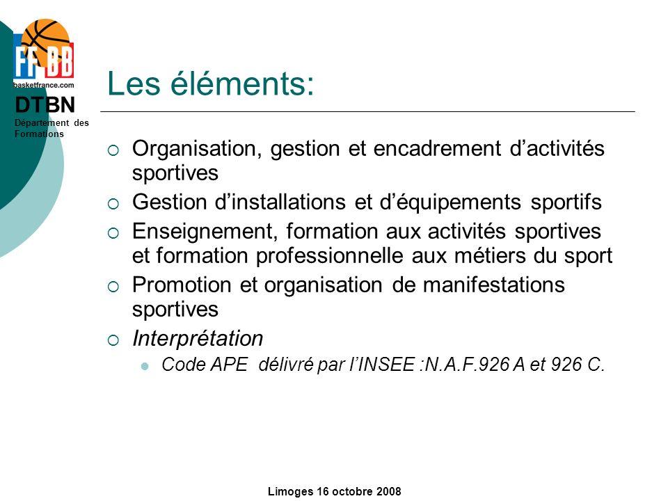 Les éléments:Organisation, gestion et encadrement d'activités sportives. Gestion d'installations et d'équipements sportifs.