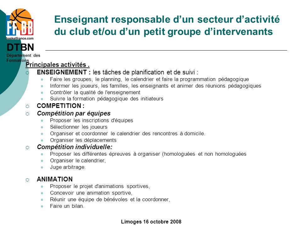 Enseignant responsable d'un secteur d'activité du club et/ou d'un petit groupe d'intervenants