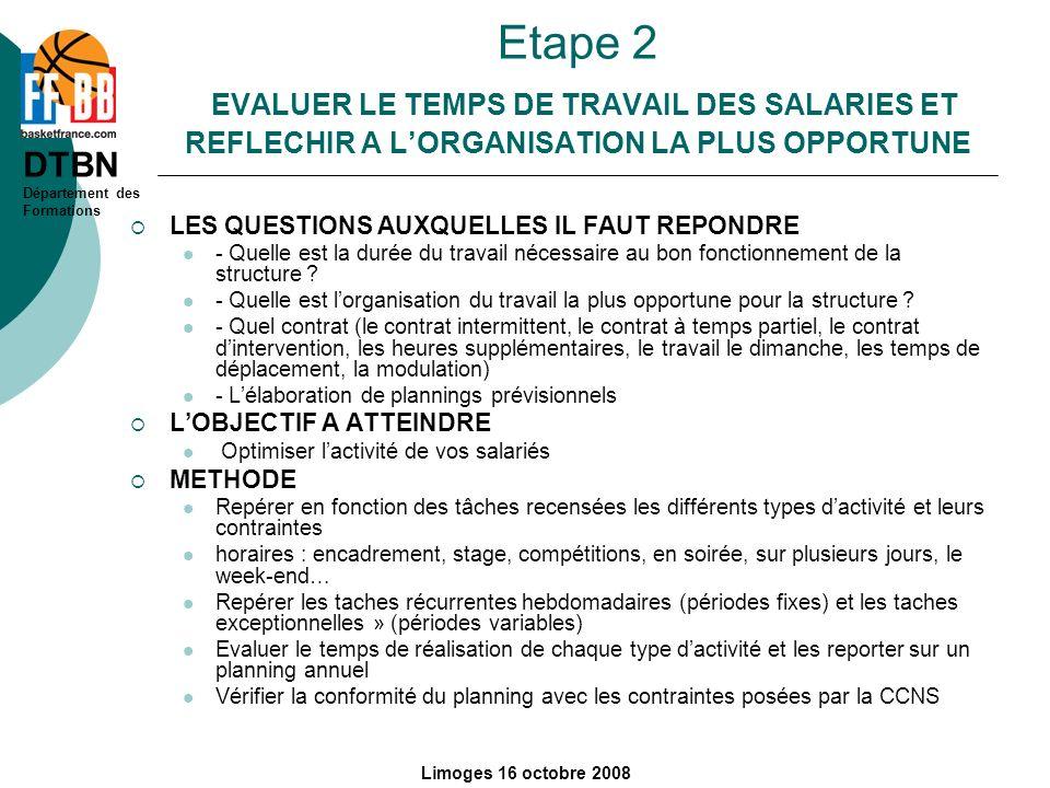 Etape 2 EVALUER LE TEMPS DE TRAVAIL DES SALARIES ET REFLECHIR A L'ORGANISATION LA PLUS OPPORTUNE